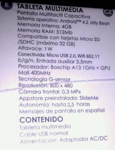 Especificaciones de la tablet barata it works tm-704